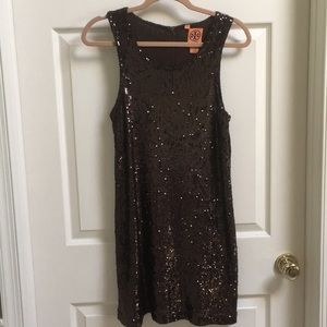 Tory Burch Brown All-Over Sequin Dress